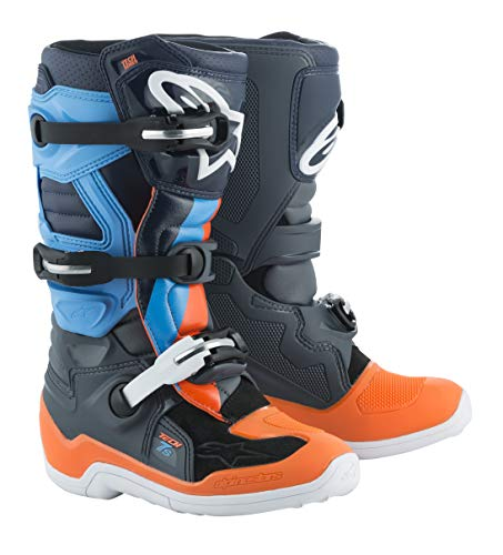Alpinestars Limited Edition Magneto Tech 7S Youth Boys Off-Road Motorycle Boots - Anthracite Gray/Orange Fluo/Cyan / -