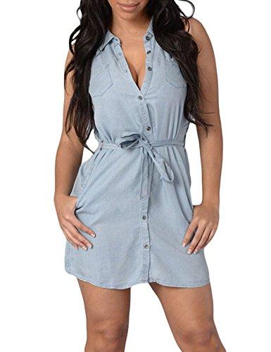Pinkyee - Vestido - para mujer azul claro
