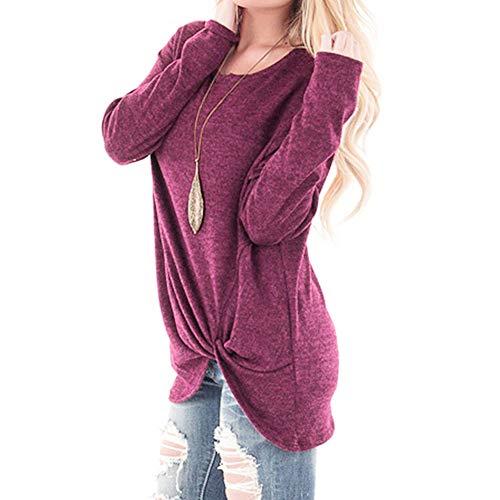 Scollo Unita Donna Da Tinta Casual Sciolte Top Camicette Caldo collo Autunno Elegante Camicetta Lunghe Maniche O Camicie Elecenty Rosa qzFPt
