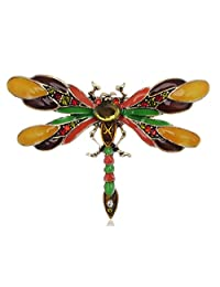 Alilang Design Colorful Enamel Dragonfly Red Green Insect Pin Brooch