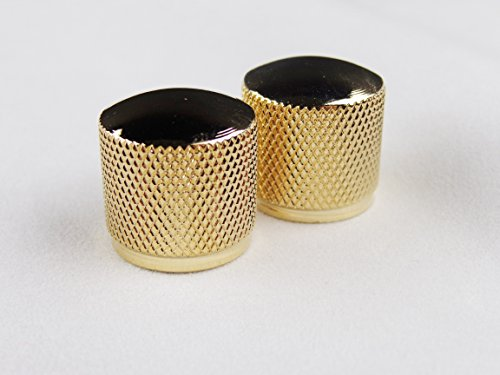 2PCS Gold Metal Volume Tone Control Dome Style Electric Guitar Bass Knobs