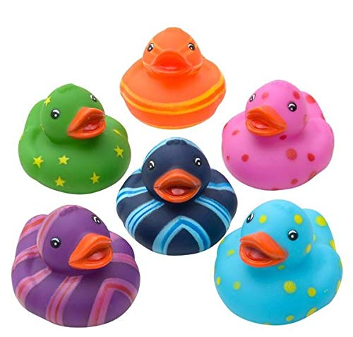 Rhode Island Novelty Colorful Pattern Rubber Duckies | One Dozen |