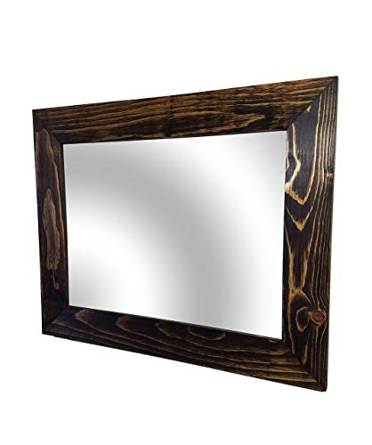 (Shiplap Large Wood Framed Mirror Available in 4 Sizes and 20 Colors: Shown in Dark Walnut Stain - Large Wall Mirror - Rustic Barnwood Style - Rectangular Wood Frame Wall Mirror )