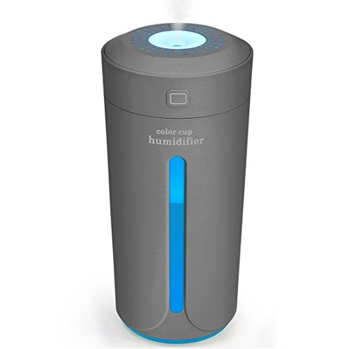 MJDUO Travel Humidifier Cup,Portable Mini Humidifier for Cars Office Desk Home Babies Kids Bedroom. Air Humidifiers Purifier 7 Color LED Lights Ultrasonic USB No Noise (Gray)