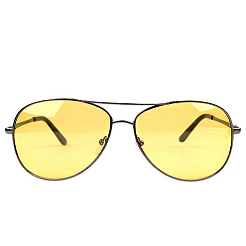 Protection Cadre Lentille UV Soleil Cadre de Lunettes Aviateur Femmes Argent Eyewear Métal Polarisées LINNUO Hommes Jaune Sunglasses wP8YxqFvF