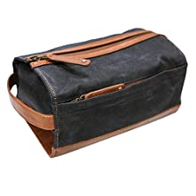 Duckworthy Waterproof Dopp Kit | Handcrafted Waxed Duck Canvas and Full Grain Leather | Large Travel Toiletry Bag | Shaving Kit Organizer with Full View of Interior Contents (Navy Blue)