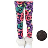 Bjinxn Girls Winter Thick Warm Long Pants Printing Fleece Lined Leggings 140 Tricolor