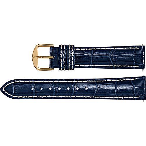 Men's 18 mm Regular Blue Leather Alligator Grain Heavy Padded Watch Strap