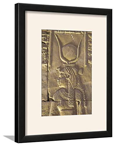 ArtEdge Relief Depicting The Goddess Hathor, Temple of Horus, Edfu, Egypt, North, Africa by Richard Maschmeyer, Wall Art Framed Print, 12x8, Black Soft White ()