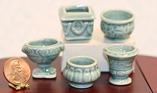 (Dollhouse Miniature Set of 5 Green Glazed Ceramic Victorian Embossed Pots)