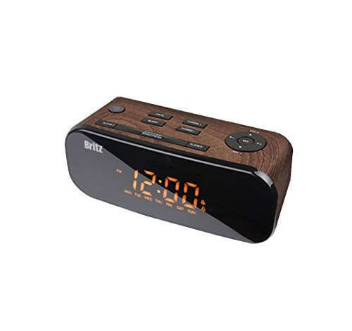 Britz BZ-M107 Digital FM Radio & Clock With Dual Alarm Free Voltage 100~240V ( Brown Color)
