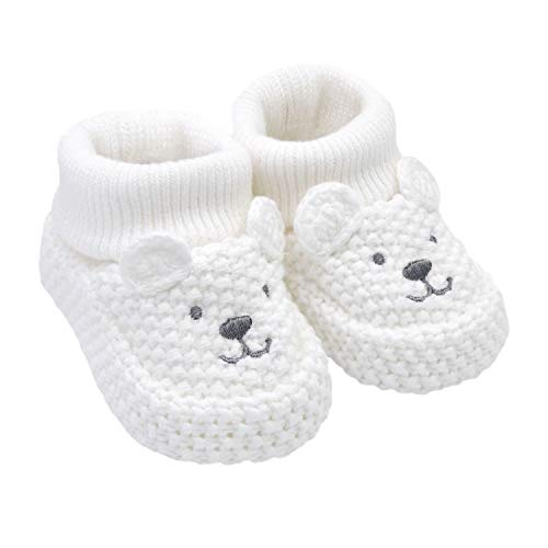 Knit Newborn Booties - Carter's Boys Neutral Soft Sole Bear Knit Bootie-Newborn Slipper White Regular US Infant