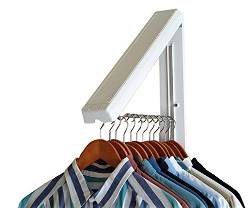 Clothes Rod Hanging (InstaHanger, The Original, Folding Wall Mounted Clothes Storage Drying Rack, ABS Plastic with Stainless Steel Rod, for Laundry/Heavy Duty Clothes Storage, White)