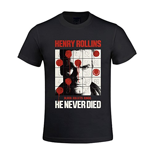MooT Henry Rollins Blood Bullets Bingo Men Design Crew Neck T shirt Black (Henry Rollins Shirt)