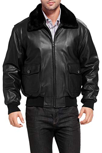Landing Leathers Navy Mens G-1 Goatskin Leather Flight Bomber Jacket,Black,XX-Large Tall