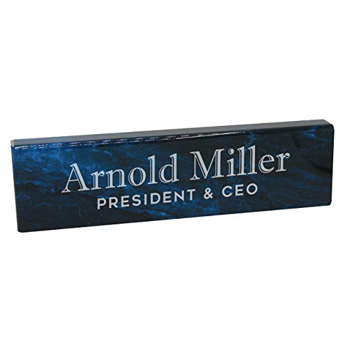 Personalized Desk Wedge Name Plate - Custom Engraved Business Gifts (Blue Marble Acrylic)