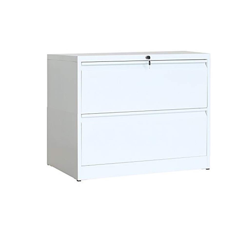 YXHUI Office Side File Cabinet 2 Drawers with Lock and Key (White) Good Mood, Good Life (Color : White)