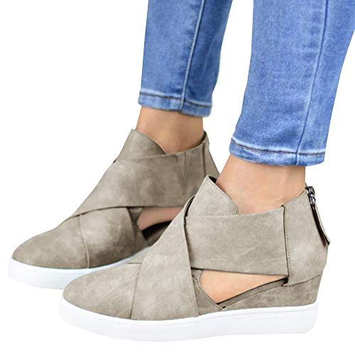 - Womens Platform Wedge Sneakers Cutout Cross Strap Mid Heel Zip up Pump Booties