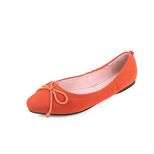 Low Women's shoes Square heels Pull Orange on Microfibre toe Solid Pumps 40 Odomolor 51qCnw6q