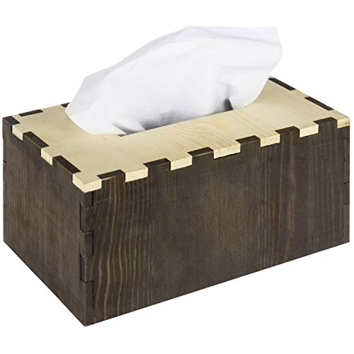 MyGift Two-Tone Box Joint Design Wood Tissue Box Cover