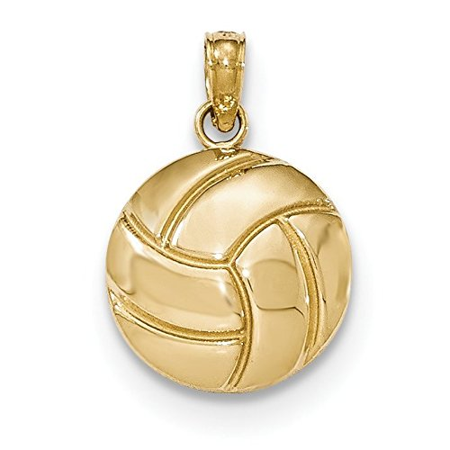 14K Yellow Gold Polished Volleyball Pendant 14k Yellow Gold Volleyball Charm