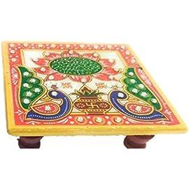 misthy Marble Pooja Chowki (10.2 cm x 10.2 cm x 2.55 cm),Multicolor
