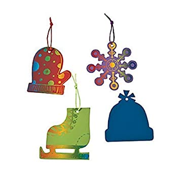 magic color scratch winter shapes christmas ornaments craft kit by oriental trading company