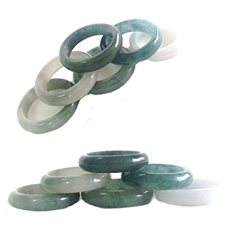 - Karatgem Jewelry Jade Band Ring 4-5mm Wide Men Mixed Color (US Size 9.5)