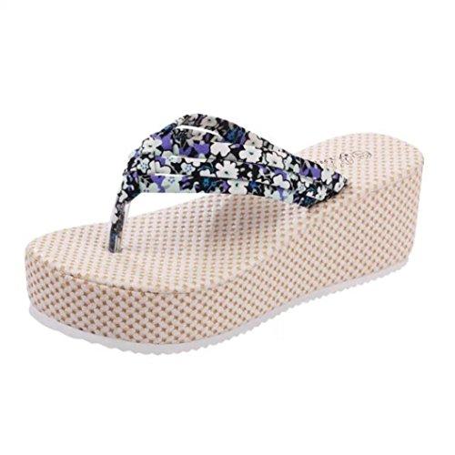 Transer 2016 1Pair Moda de mujeres de la moda de las sandalias sandalias planas suave de fondo plano con zapatillas de playa Azul