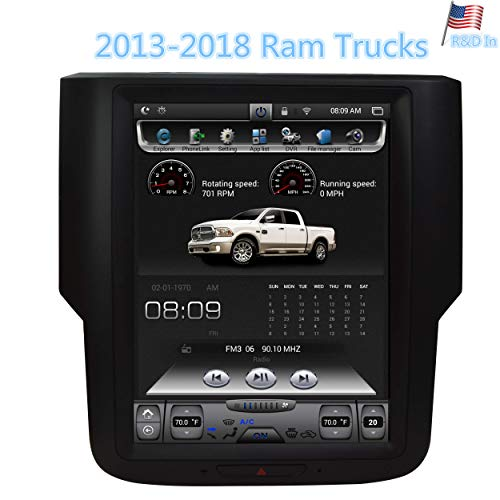 (LinksWell Dodge 2013-2018 Ram 1500 2500 3500 Navigation System 10.4 Inch Touch Screen Radio Car Stereo in Dash GPS Android T-Style Vertical HD Multimedia Player 2GB RAM 32GB ROM Bluetooth Head Unit)