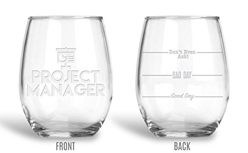 Etched Glass Coasters - BadBananas Project Manager Gifts - Good Day, Bad Day, Don't Even Ask 21 oz Engraved Stemless Wine Glass with Etched Coaster - Funny Gift For Coworkers