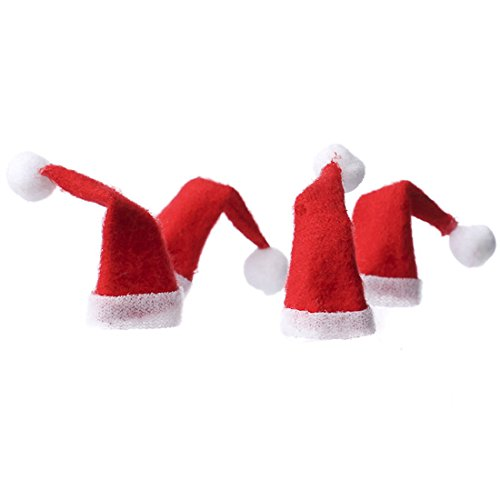 Factory Direct Craft Package of 16 Sweet Red and White Felt Miniature Santa Hats for Crafting, Creating and Embellishing