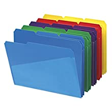 Smead 10540 Slash Pocket Poly File Folders, 1/3 Cut Top Tab, Letter, Assorted (Box of 30)