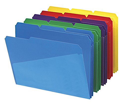 Quick View Poly Jackets - Smead 10540 Slash Pocket Poly File Folders, 1/3 Cut Top Tab, Letter, Assorted (Box of 30)