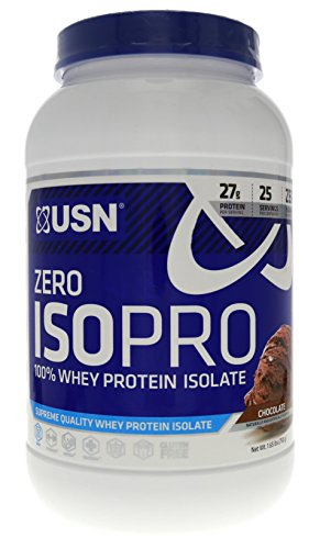 USN Zero Carb ISOPRO 100% Whey Protein Isolate Chocolate for Rapid Protein Uptake Without The Carbs 1.65lbs