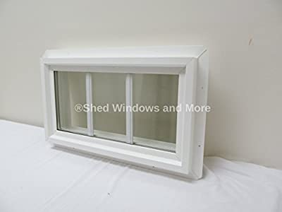 """10"""" x 18"""" Double Pane Transom Window Insulated PVC Frame with Grids"""