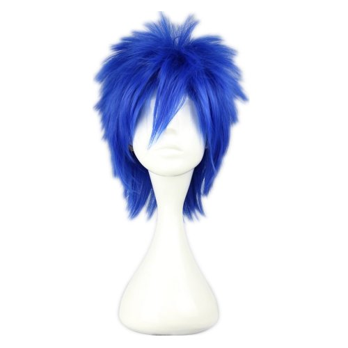 COSPLAZA Cosplay Wigs FAIRY TAIL mistogai VOCALOID Hatsune family KAIKO Short Spiky Party Hair 35cm blue