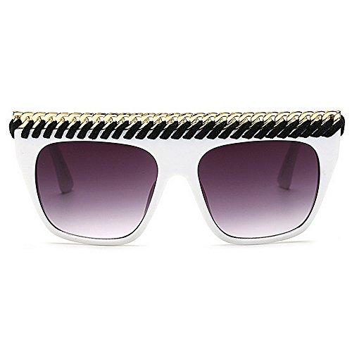 cadena mujeres libre de estilo las Retro vacaciones decoración de de protección tamaño de gran sol de Gran para UV sol aire de gafas de al Blanco verano de la las la de Playa Personalidad conducción Gafas tqTF6wxt