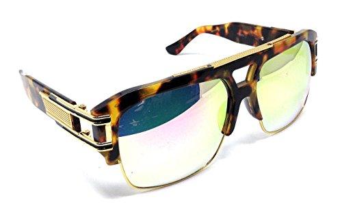 Gazelle B-Boy Square Metal & Plastic Retro Aviator Sunglasses (Tortoise & Gold Frame, Green Flash - Celebs Sunglasses