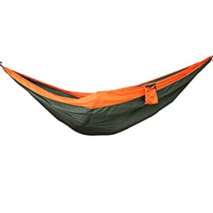 MONOJOY® Double Hammock Outdoor Travel Camping Hammock Parachute Nylon Fabric Swing Bed For Two Person (Green+Orange)