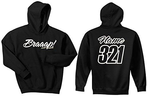 JUST RIDE Braaap! His or Hers Motocross Hoodie Sweatshirt Number Plate Custom Personalized (Large, HIS White)