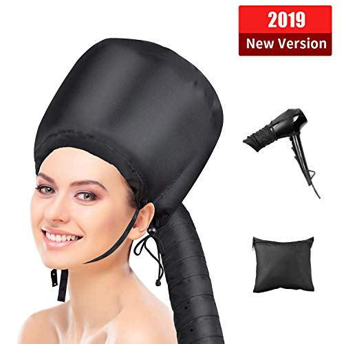 USiFar Bonnet Hood Hair Dryer Attachment, 2019 Upgraded Version Soft Cap Adjustable For Care Deep Conditioning
