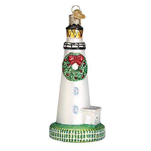 - Old World Christmas Glass Blown Ornament with S-Hook and Gift Box, Location Collection (Ocracoke Lighthouse)