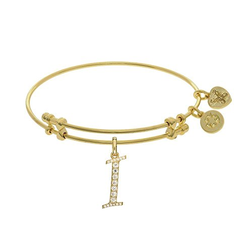JewelryWeb Brass with Yellow Finish Initial I Charm for Angelica Bangle Bracelet -  RCB316942