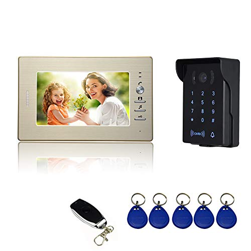 NUDITO N721 Wired Video Doorbell Kit, Intercom System Video Doorphone. (1 Monitor with 7-inch HD Screen, 1 IR Waterproof Camera with Night Vision. RFID Keyfob, Password and Remote Control -