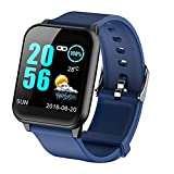 FEDULK Sports Bracelet Waterproof Smart Watch Heart Rate Monitor Healthy Life Wristband for iOS Android(Blue)