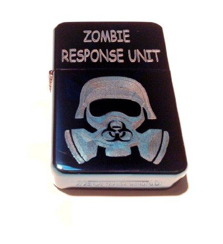 Vector KGM Thunderbird Custom Lighter - Biohazard Toxic GAS Mask Zombie Outbreak Response Unit Logo Blue Sparkle ICE High Polish Chrome Rare! (Vector Gas Mask)