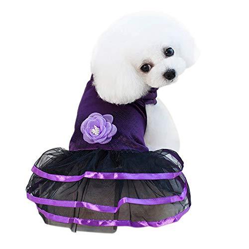 Hpapadks Pet Dog Mesh Flower Retro Satin Skirt,Small Dog Dress Pet Dog GrenadineFlower Dress Dog Cat Cute Summer Skirt