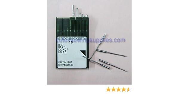 evernice 20 agujas para m/áquina de coser Groz-Beckert B-27 Dcx27 Dcx1 Overlock Serger