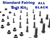 Black Standard Motorcycle Fairing Bolt Kit Yamaha YZF-R6 2003 - 2004 YZF-R6s 2006 - 2009 Body Screws, Fasteners, and Hardware